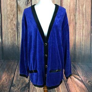 Vintage 80's Lizsport Cardigan Sweater Velvet L/XL
